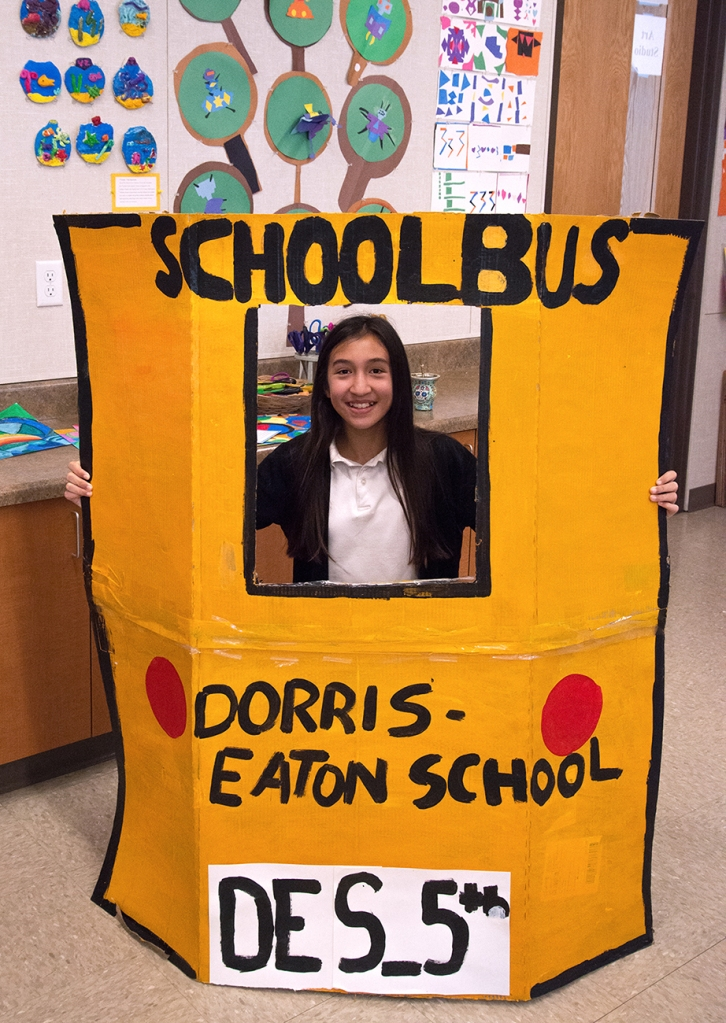 For a school musical, students needed to sing as if from out of the back of a school bus window.