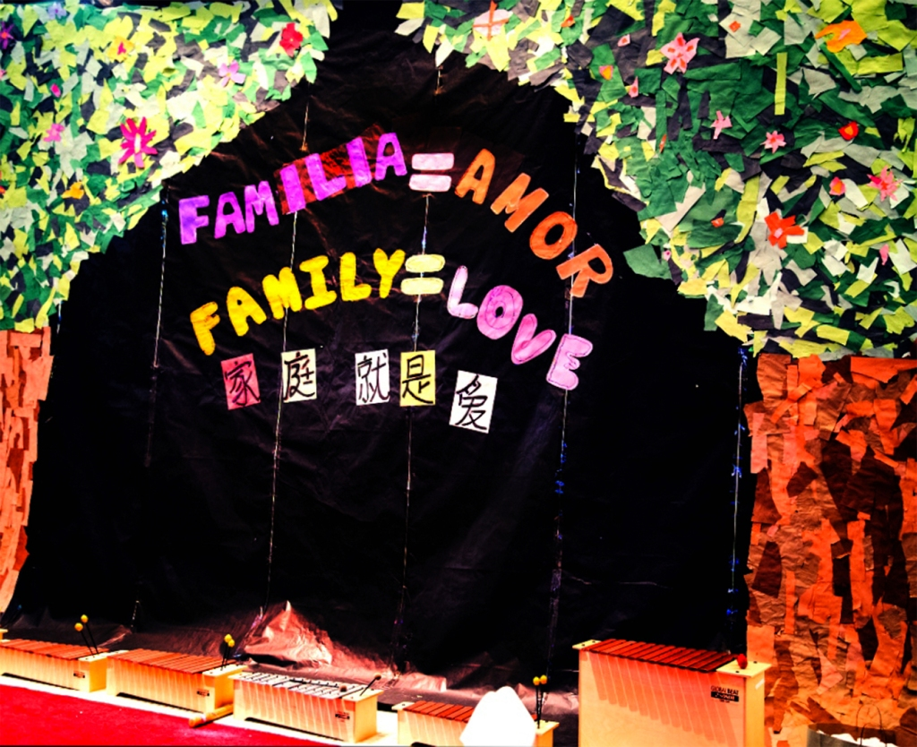 This was the backdrop for another performance, made collectively out of torn-paper collage
