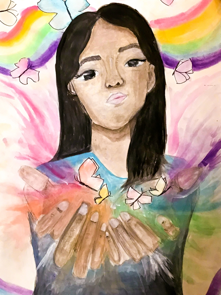 7th Grade Completed Foreshortening Student Artwork: a girl cupping butterflies in her hands, while butterflies and rainbows surround her