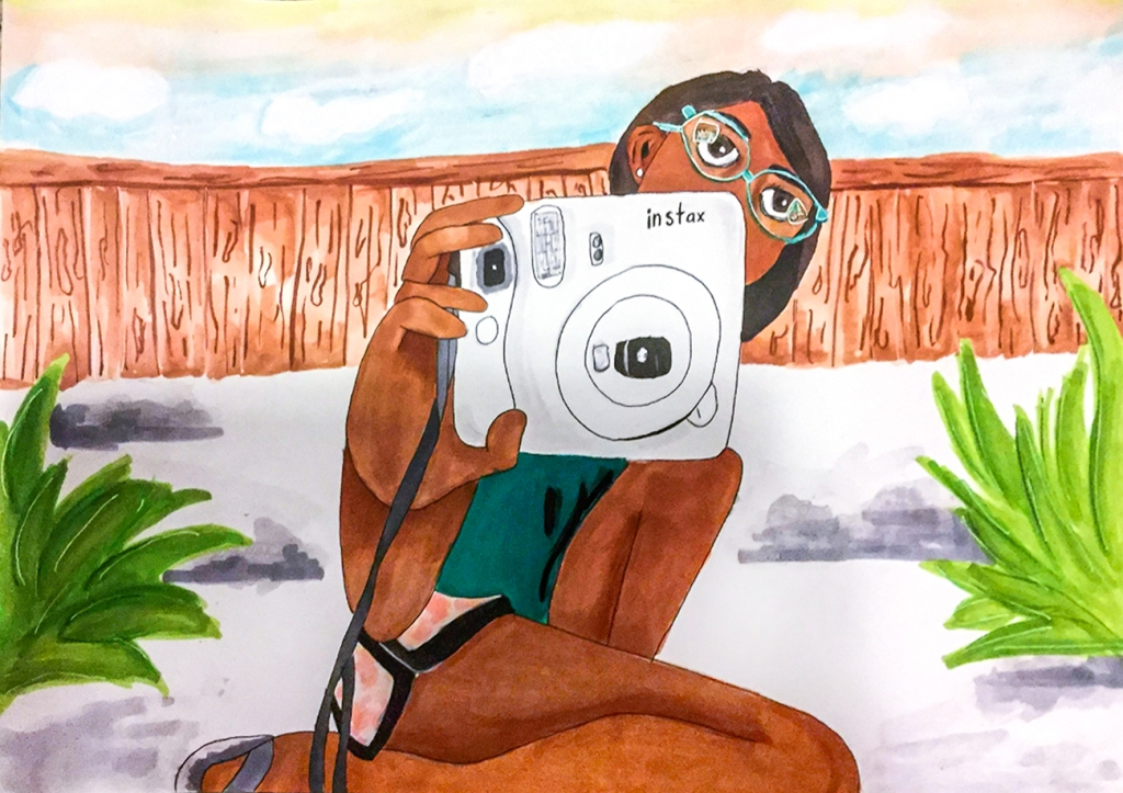 7th Grade Completed Foreshortening Student Artwork: a girl holding out an instant camera