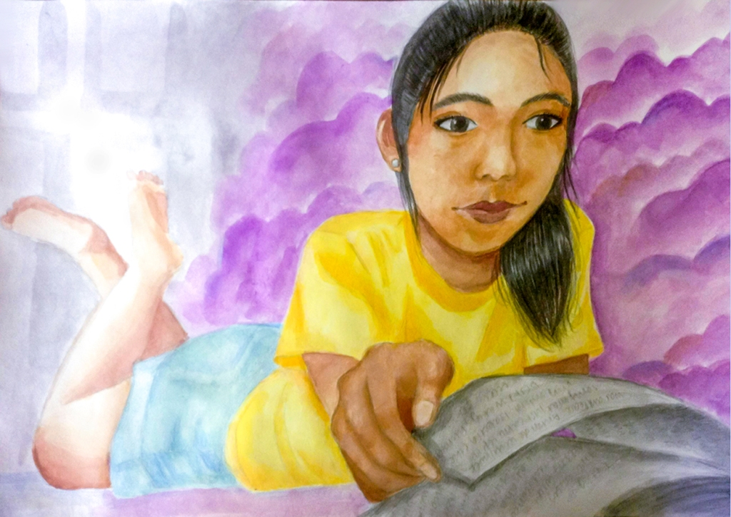 7th Grade Completed Foreshortening Student Artwork: a girl lying on her stomach reading a book