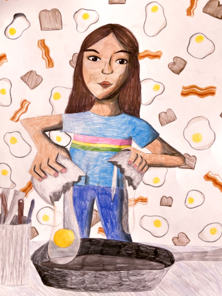 7th Grade Completed Foreshortening Student Artwork: a girl frying an egg