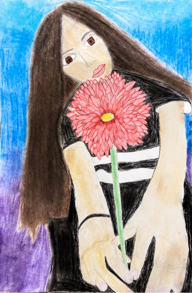 7th Grade Completed Foreshortening Student Artwork: a girl holding out a red dahlia