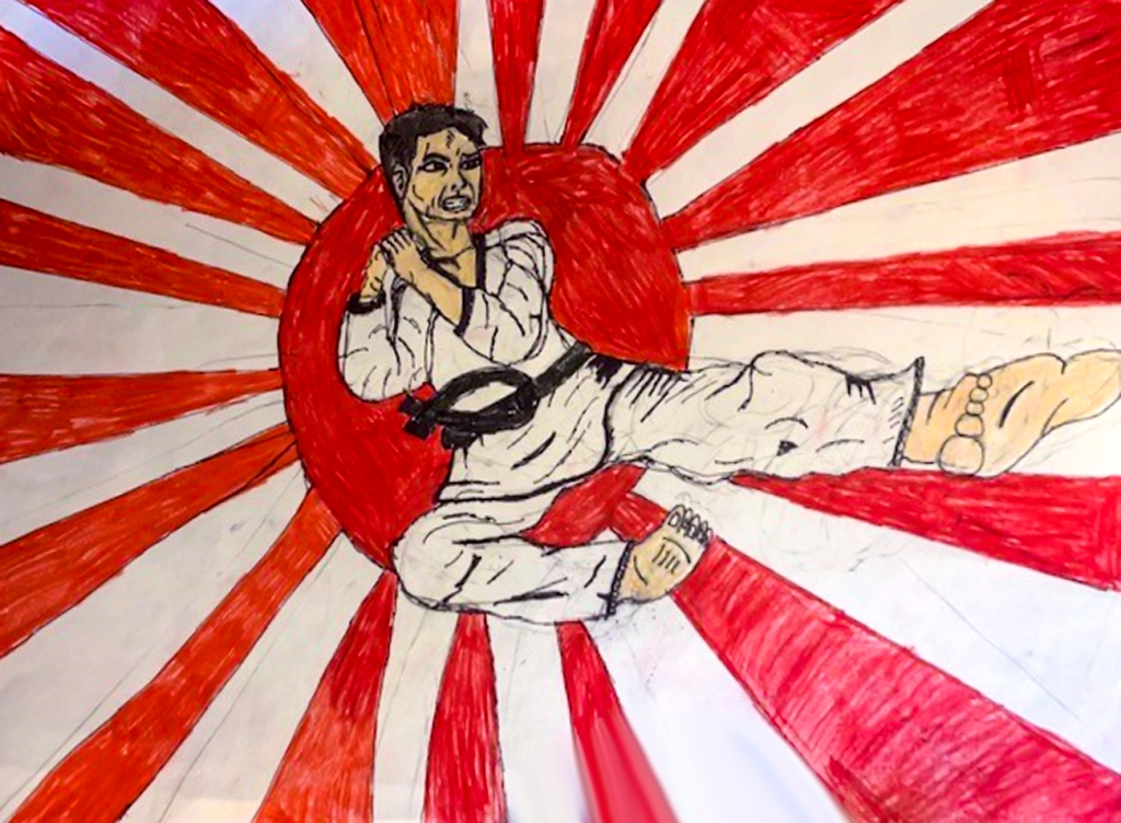 7th Grade Completed Foreshortening Student Artwork: boy doing a karate kick in front of a red sun