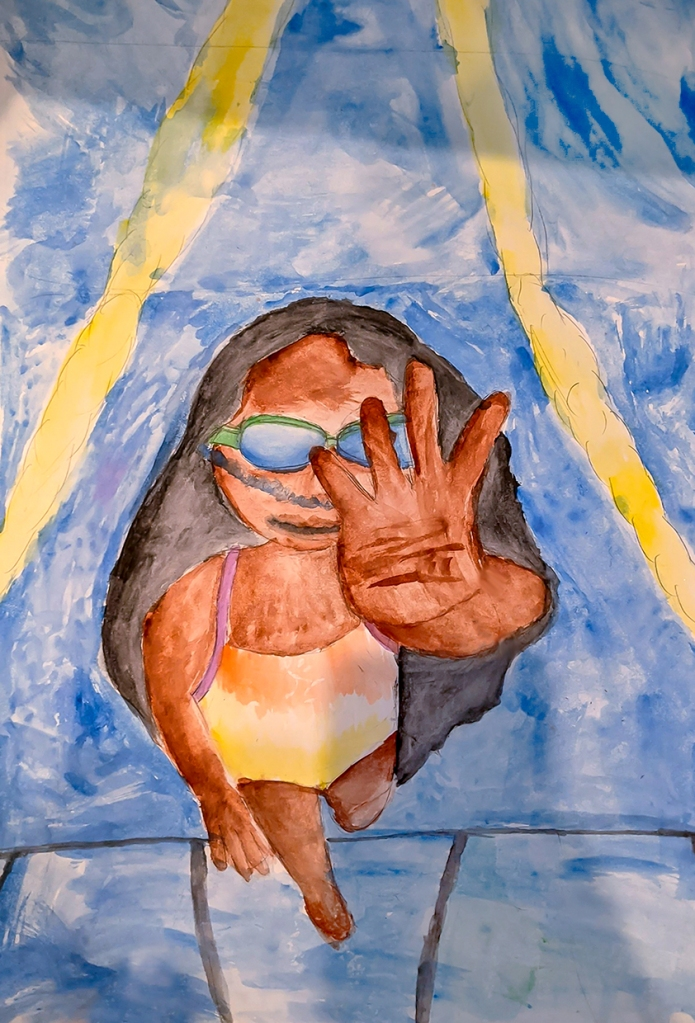 7th Grade Completed Foreshortening Student Artwork: a girl swimming in a pool, viewed from under the water