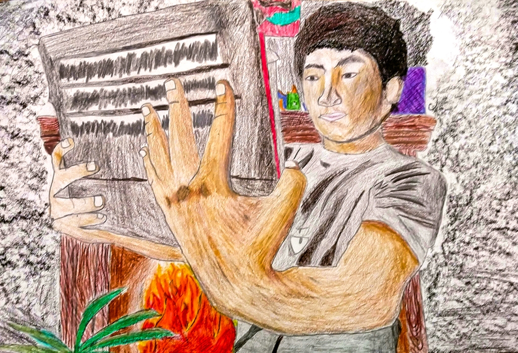 7th Grade Completed Foreshortening Student Artwork: a boy holding out a tablet