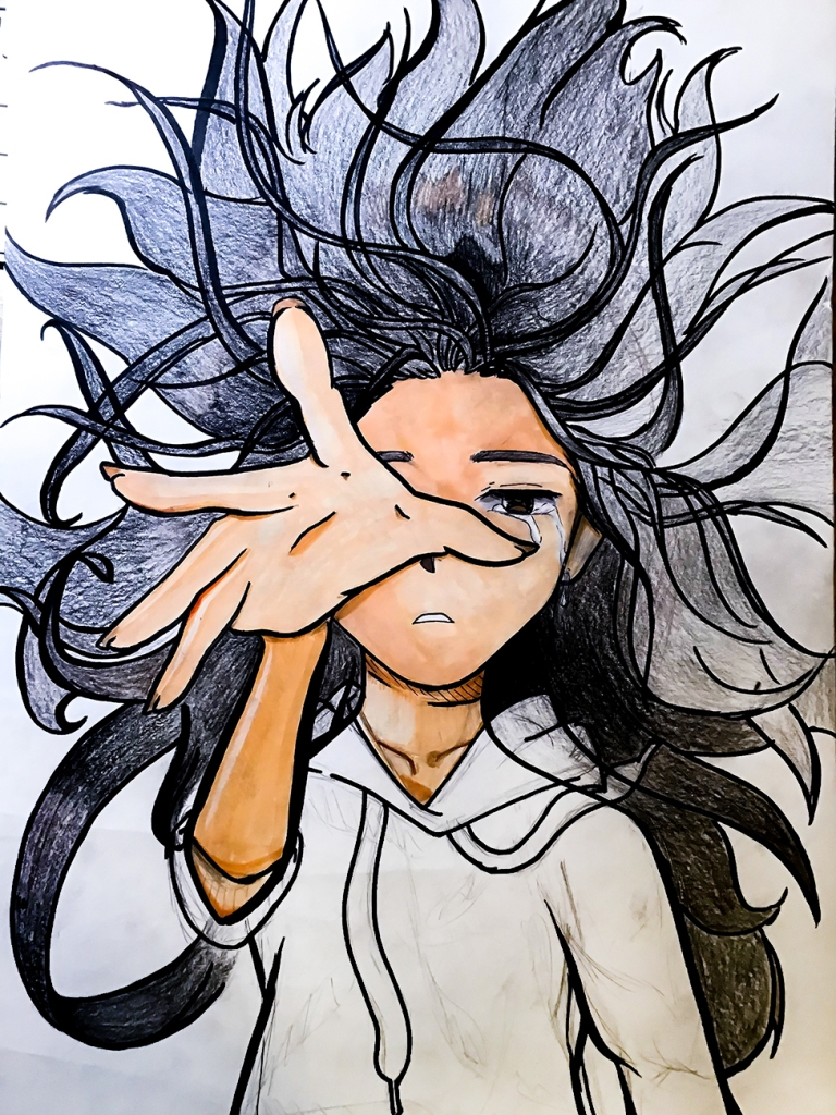 7th grade in-progress student foreshortening artwork: girl with hair flying all around her, tear in her eye, holding out her hand