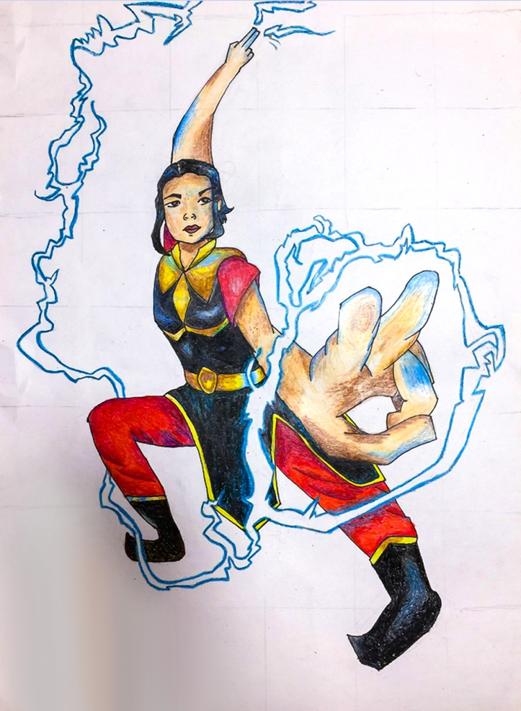 7th grade in-progress student foreshortening artwork: a female superhero generating lightning
