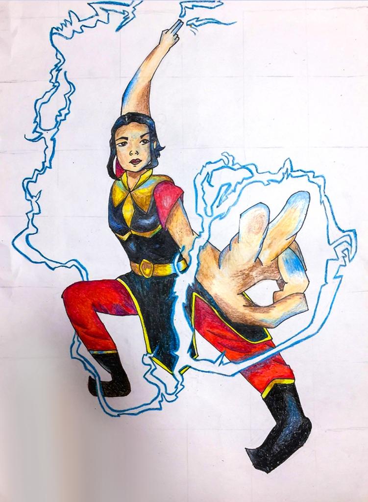 7th grade in-progress student foreshortening artwork: a female superhero generating lightning
