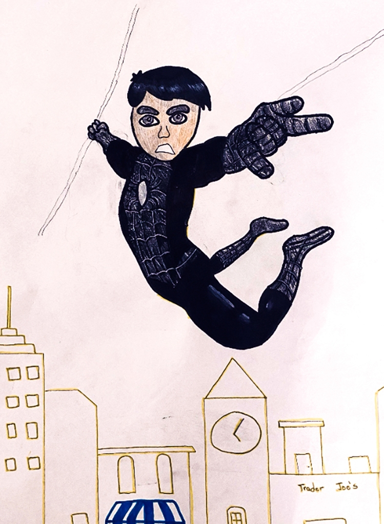7th grade in-progress student foreshortening artwork: Spiderman in black swinging above a city