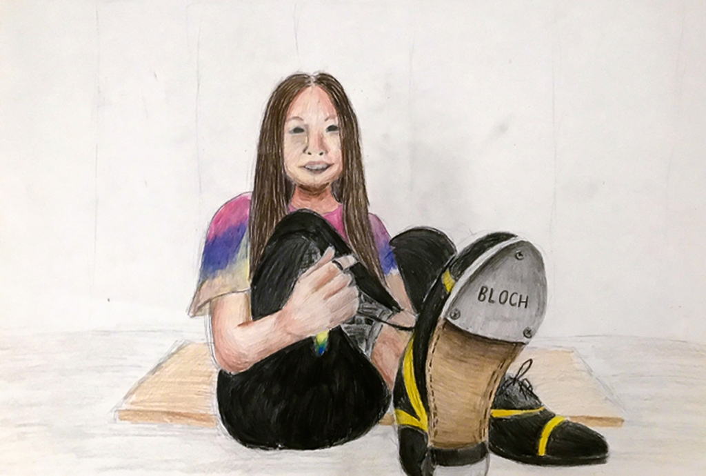 7th grade in-progress student foreshortening artwork: girl tying her shoe.