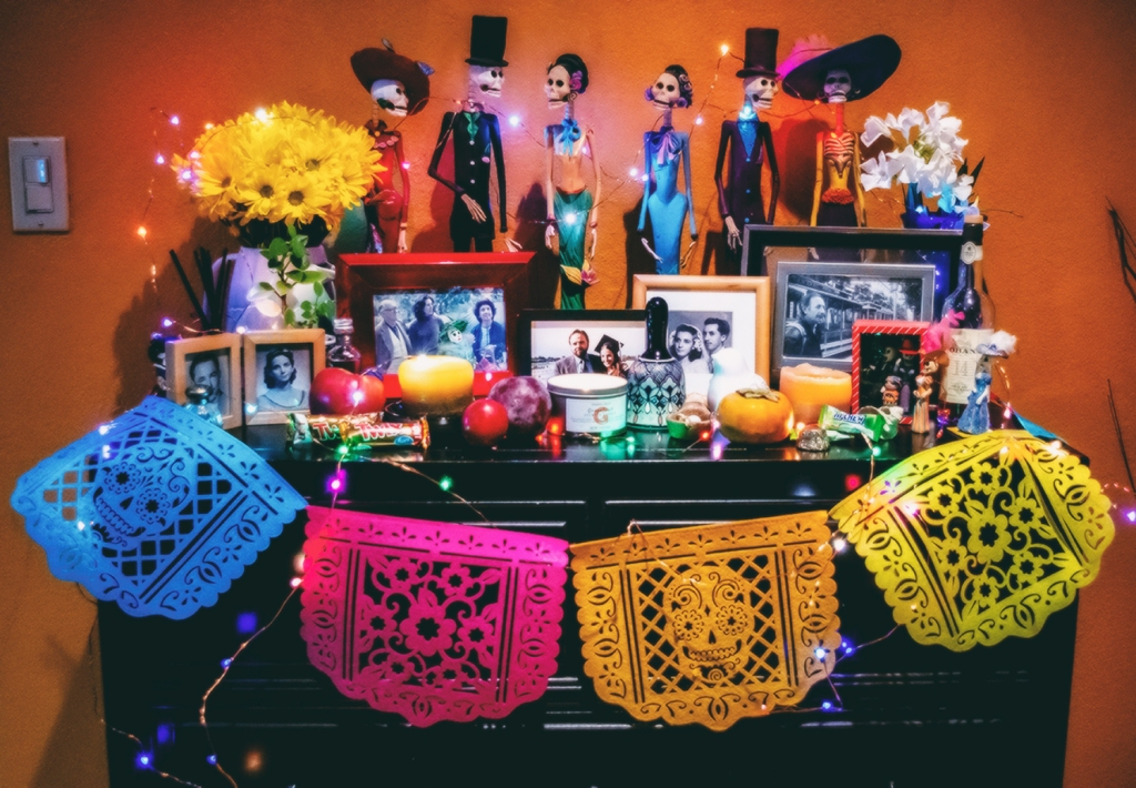 This is the altar my family and I put together in our home this year for Día de los Muertos, in honor of our deceased family members