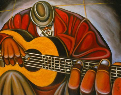 Cbabi Bayoc's painting Blues Man
