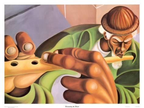 Cbabi Bayoc's painting Serenading the Street