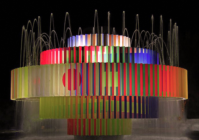 The kinetic Dizengoff Square Fountain by Yaacov Agam, seen here lit up at night