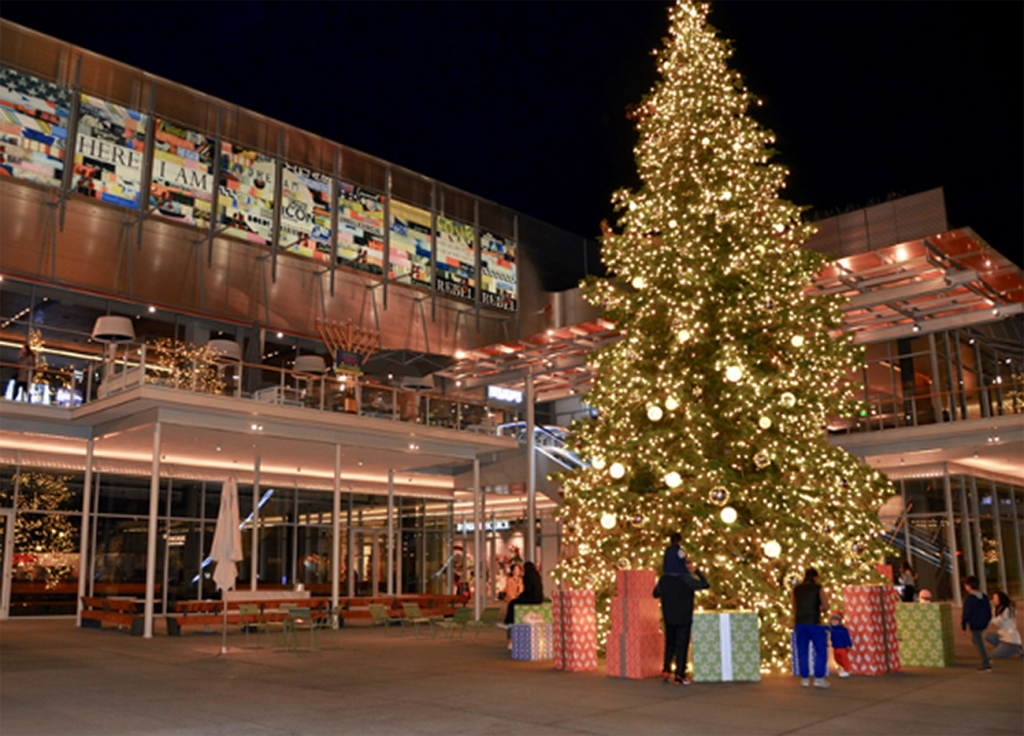 8th grade student's night photography: a shopping center festooned with a Christmas tree and presents