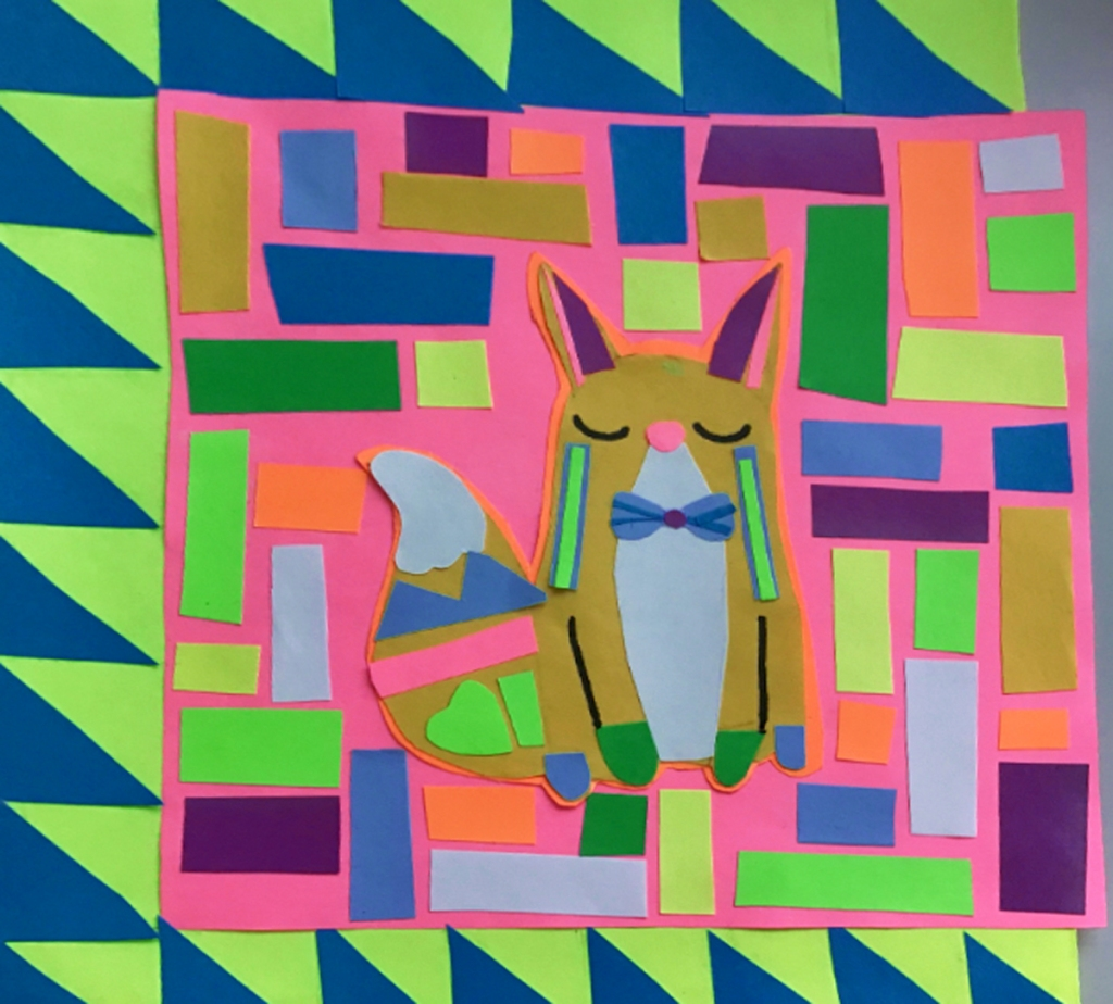 A 4th grade student Mola, depicting a handsomely dressed fox surrounded by multicolored lines in different directions