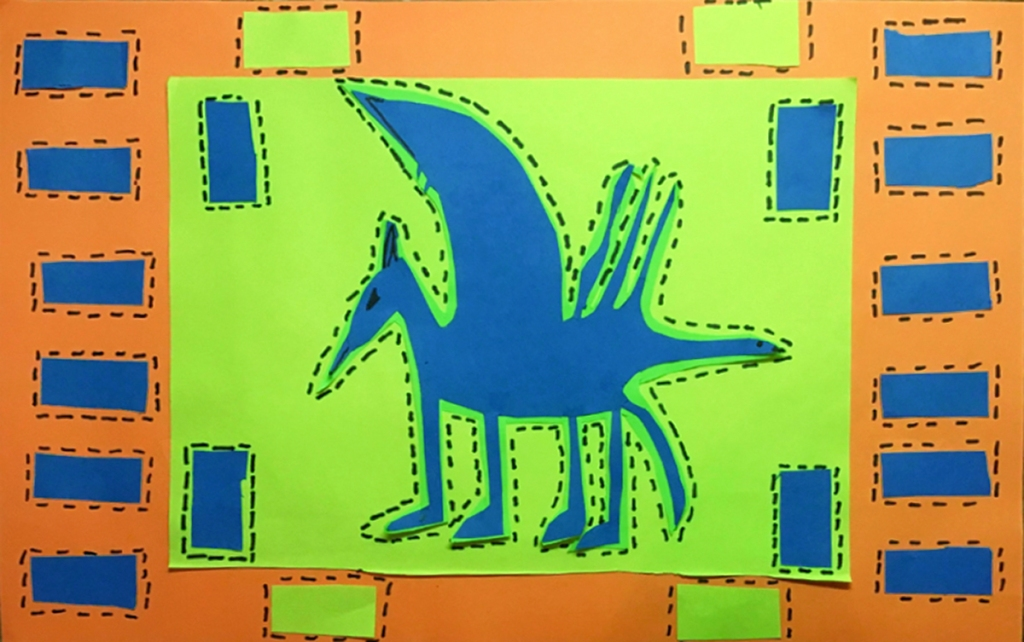 """A 4th grade student Mola, depicting a blue dragon and blue and green patterns, all adorned with """"stitches"""" to look like a real Mola"""