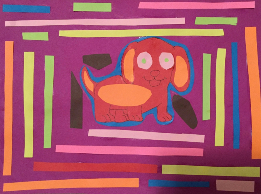 A 4th grade student Mola, depicting a red dog framed by lines of various colors.