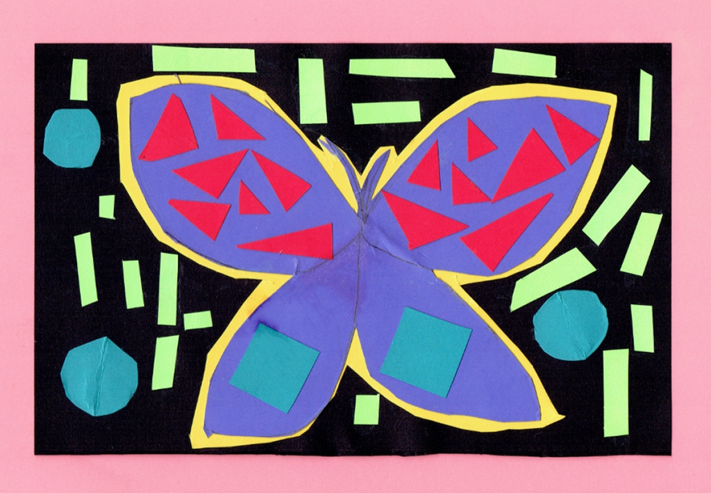 A 4th grade student Mola, depicting a purple butterfly with geometric patterns of pink and blue inside the wings, and surrounded by blue circles and green rectangles.