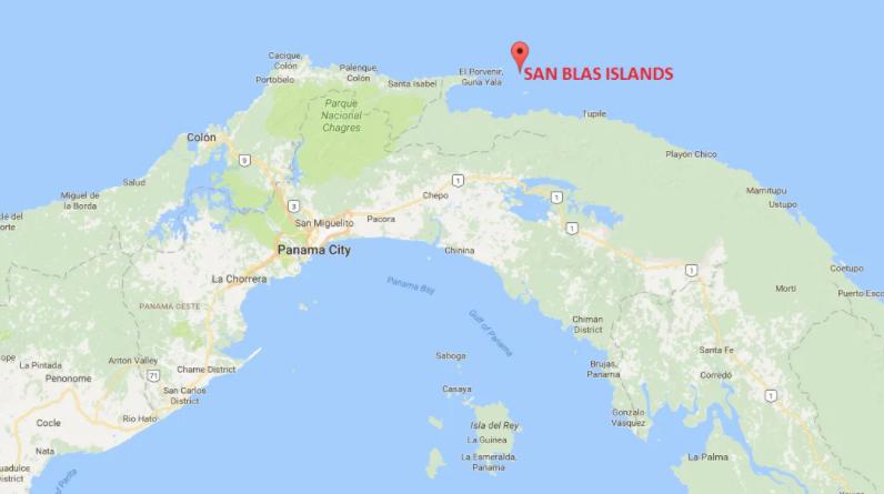 Map of Panama pointing to the very tiny San Blas Islands, origin of the Mola