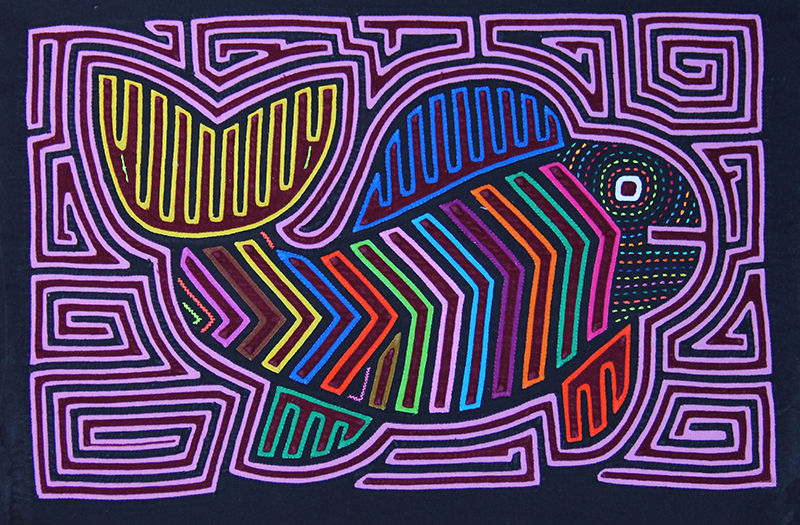 An example of a conventional Mola, depicting a large, vibrant fish surrounded by purple geometric designs