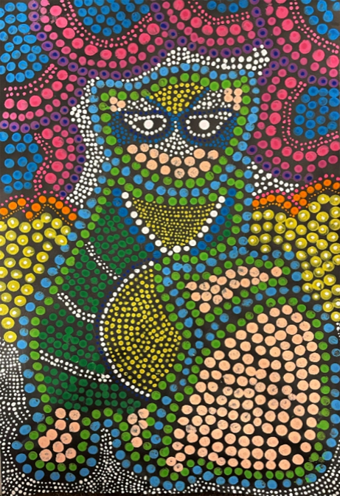 5th grade student's Aboriginal-style Dot Painting of a raccoon in vivid colors.