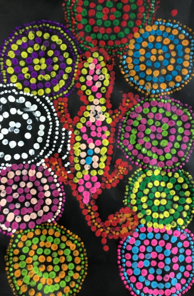 5th grade student's Aboriginal-style Dot Painting of a gecko set against circular patterns in vivid colors.
