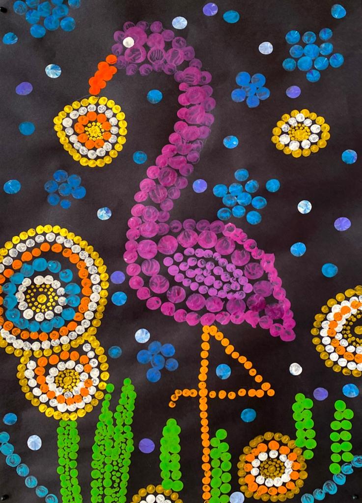 5th grade student's Aboriginal-style Dot Painting of a flamingo among vivid patterns.