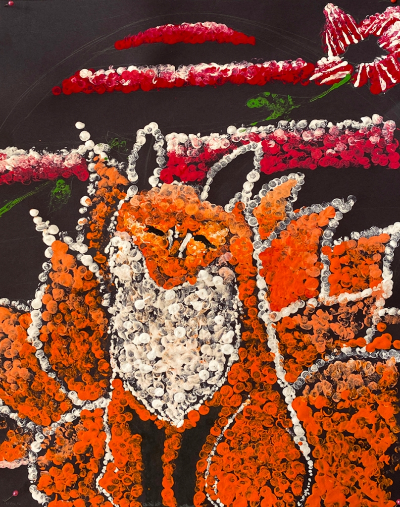 5th grade student's Aboriginal-style Dot Painting of a fox in warm colors.