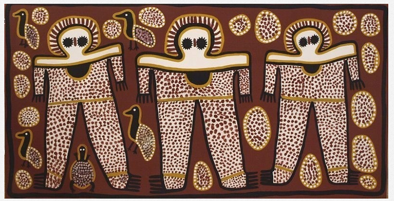An authentic Aboriginal dot painting in ochres, whites and browns, and described as Wandjina spirit beings come from the Kimberley aborigine.