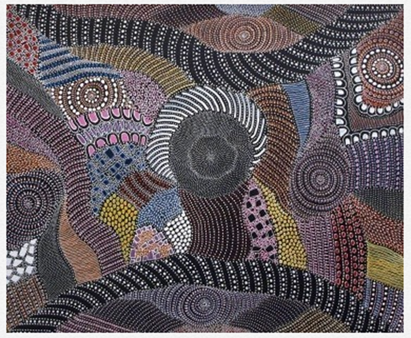 An incredibly intricate Aboriginal dot painting in earthy browns, pinks, purples and blues, with some white.