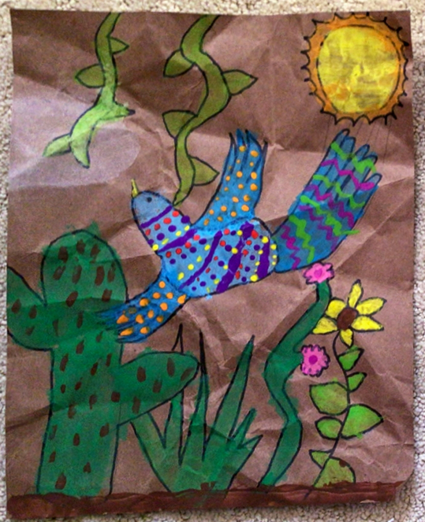 3rd grade student Amate painting example, featuring an open-winged very colorful and brightly-patterned bird, a cactus, some flowers, vines and a sun