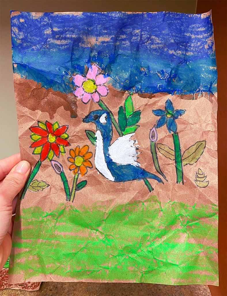 3rd grade student Amate painting example, featuring a blue and white bird and several brightly painted flowers