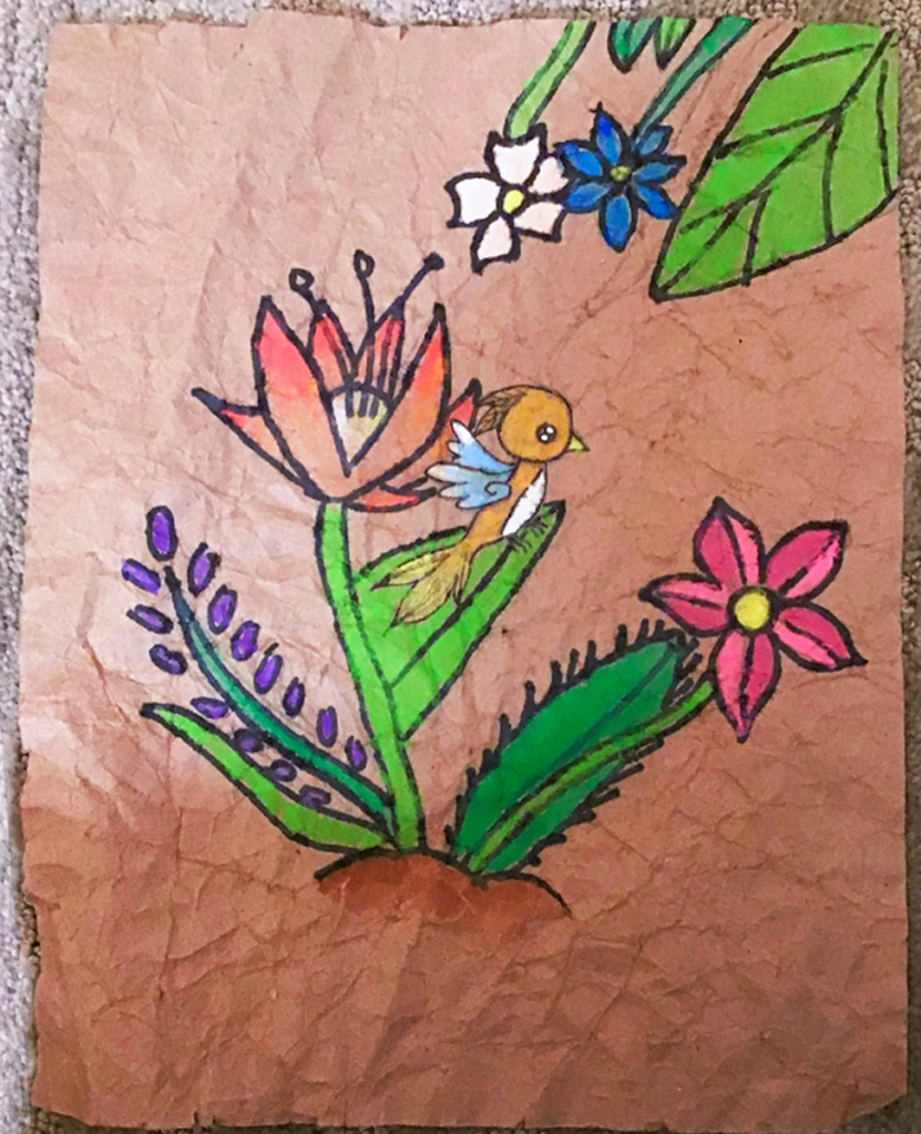 3rd grade student Amate painting example, featuring a little orange bird, and several brightly colored flowers