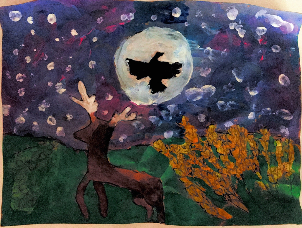 3rd grade student Amate painting example featuring a dear, a bird silhouetted against the moon, an orange bush, and a starry night sky