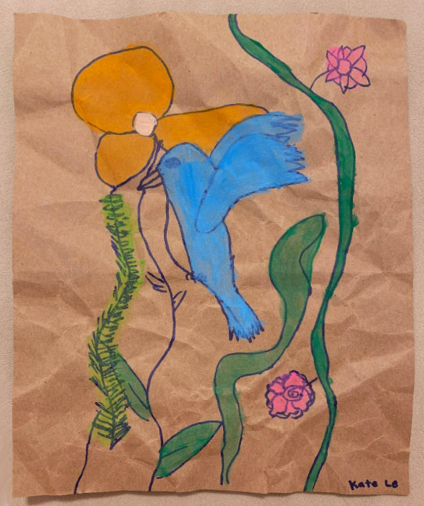 3rd grade student Amate painting example, featuring a blue bird, orange poppy, and pink roses, threaded with green vines