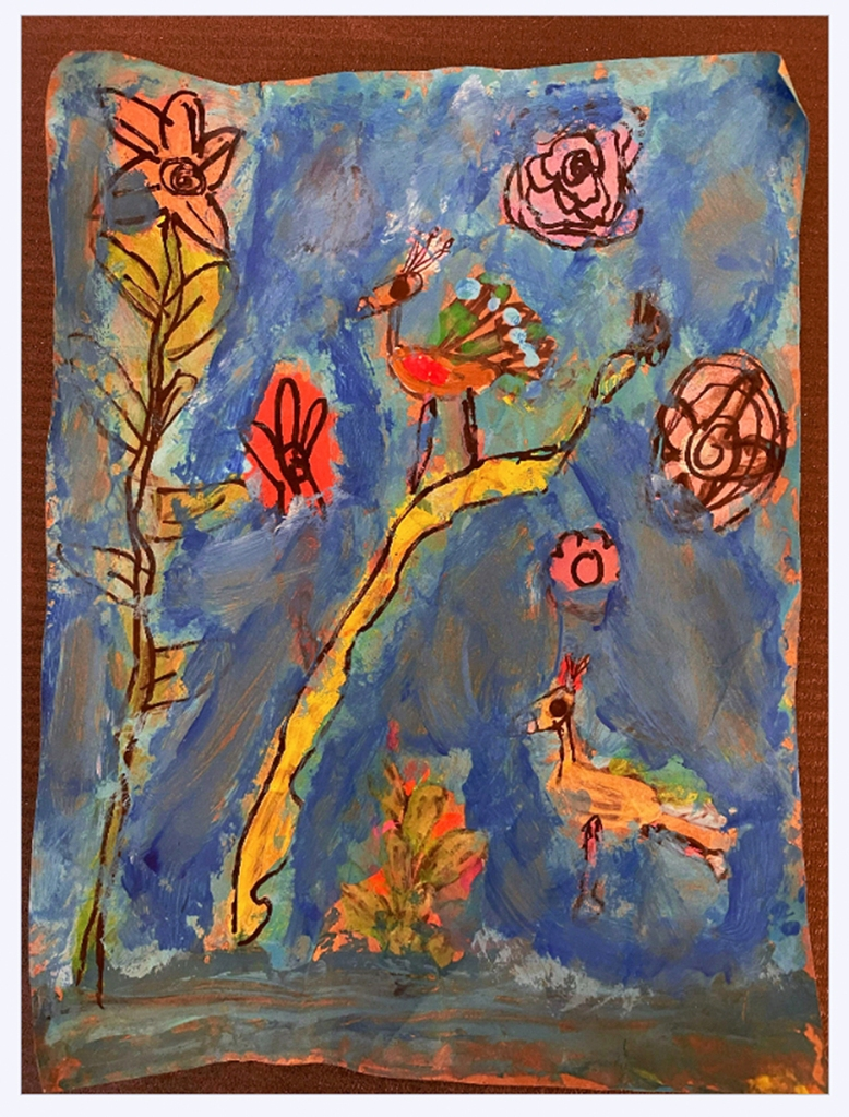3rd grade student Amate painting example featuring peacocks on branches, with flowers and a blue background