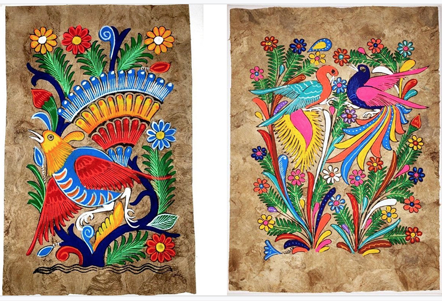 Two traditional Amate paintings from Mexico: Beautiful, brightly-colored birds and flowers in ornate patterns on Amate bark.