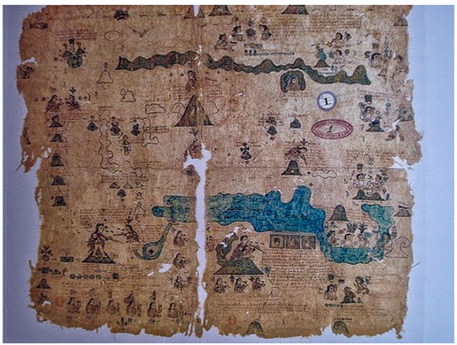 Pre-Colombian (Mexican) example of a document on Amate bark, with pictures and text