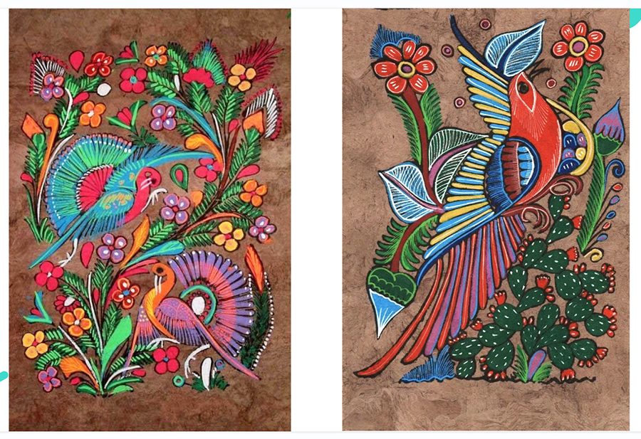 Two traditional Amate paintings from Mexico: Beautiful, brightly-colored birds, cacti and flowers in ornate patterns on Amate bark.