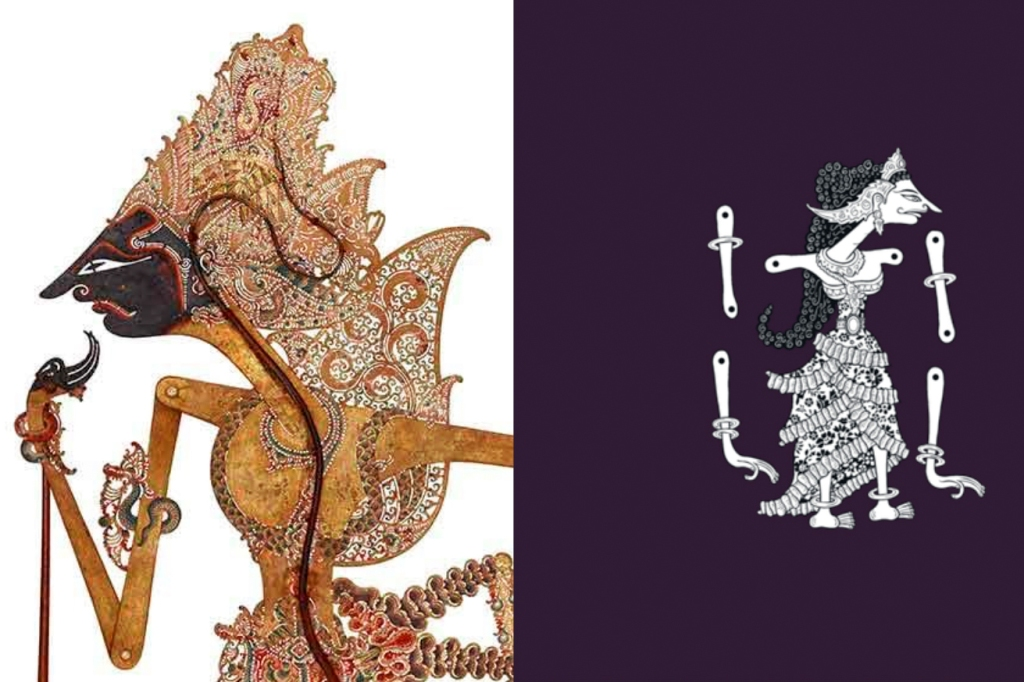 A close-up of a Wayang Kulit puppet showing the elaborate detail of the perforations in the costume; and a puppet demonstrating where the arms are connected via the shoulder and elbow joints.
